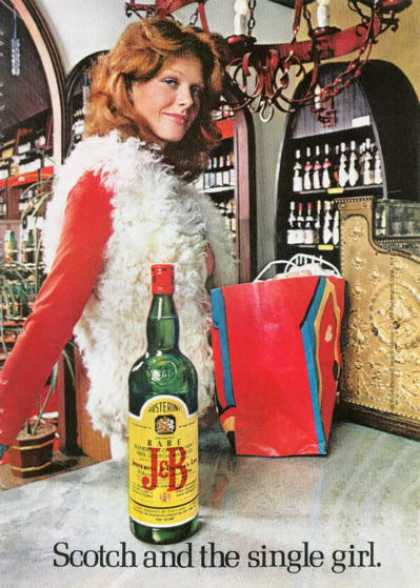J&b Scotch & Single Girl Bottle (1972)