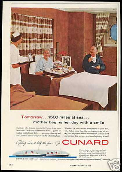 Cunard Cruise Ship Room Service Vintage (1958)