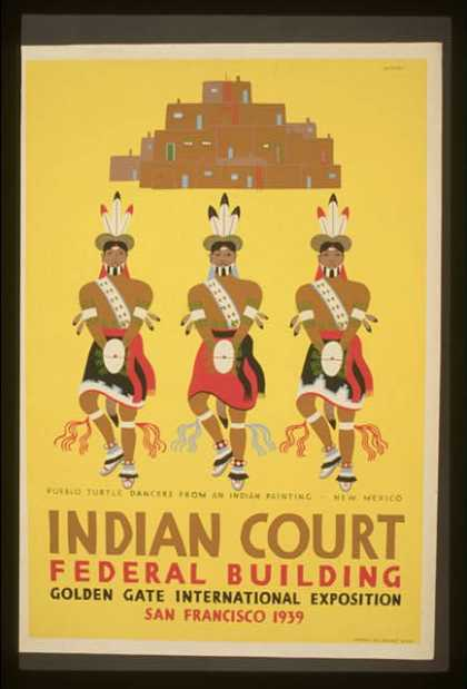 Indian court, Federal Building, Golden Gate International Exposition, San Francisco, 1939 – Pueblo turtle dancers from an Indian painting, New Mexic (1939)