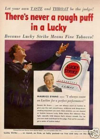 Lucky Strike Cigarettes Ad Maurice Evans (1950)