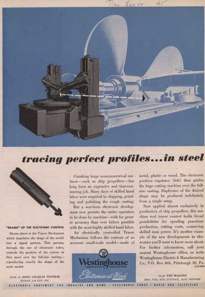 Westinghouse Electric & Manufacturing Company's Electronics – Tracing Perfect Profiles... In Steel (1945)