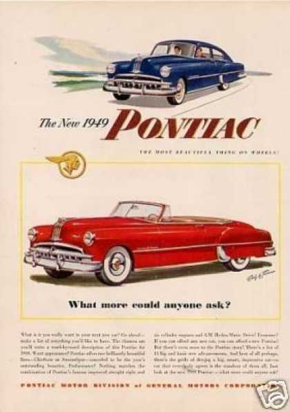 "Pontiac Cars Ad ""What More Could... (1949)"