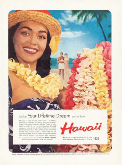 Hawaii Travel Ad Beach Native Lei Greeting (1959)