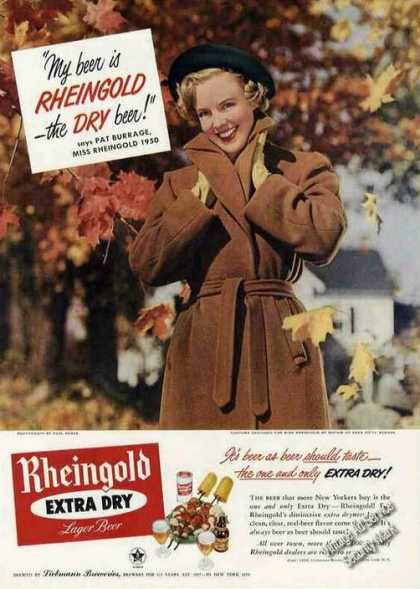 Miss Rheingold Beer Ad Pat Burrage Fall Photo (1950)