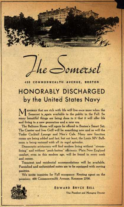 Somerset Resort's Post-War – The Somerset Honorably Discharged (1945)