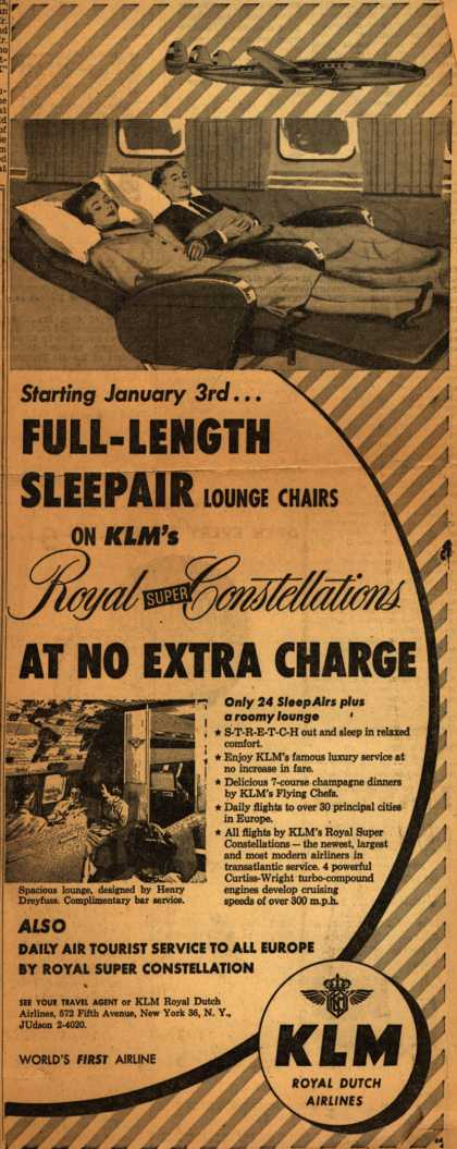 KLM Royal Dutch Airline's SleepAir lounge chairs – Full-Length SleepAir (1953)
