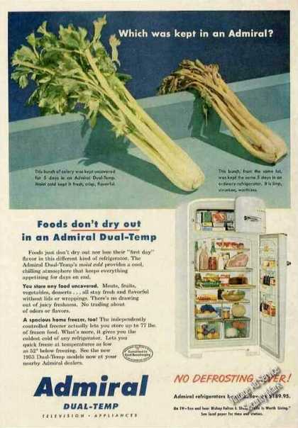 "Admiral Dual-temp Refrig ""Foods Don't Dry Out"" (1953)"
