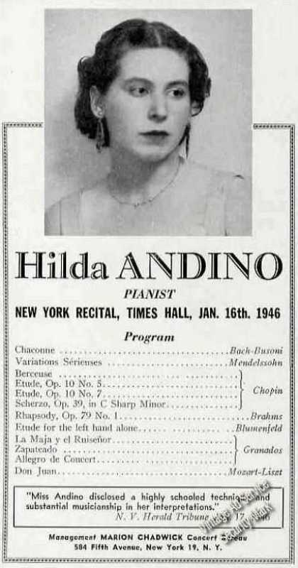 Hilda Andino Photo Pianist Booking (1946)