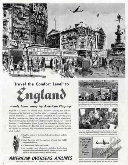 American Airlines Ad Piccadilly Circus London Art (1948)
