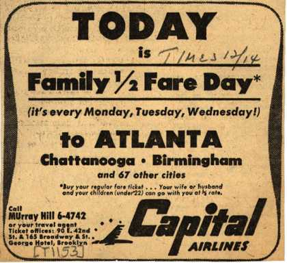 Capital Airline's Family Half Fare Day – Today is Family 1/2 Fare Day (1948)