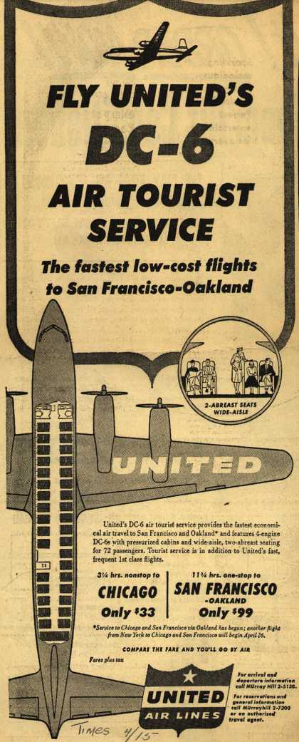 United Air Line's DC-6 Air Tourist Service – Fly DC-6 Air Tourist Service (1953)