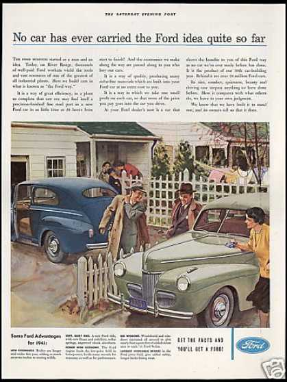 Ford Sedan Vintage Print River Rouge Plant (1941)