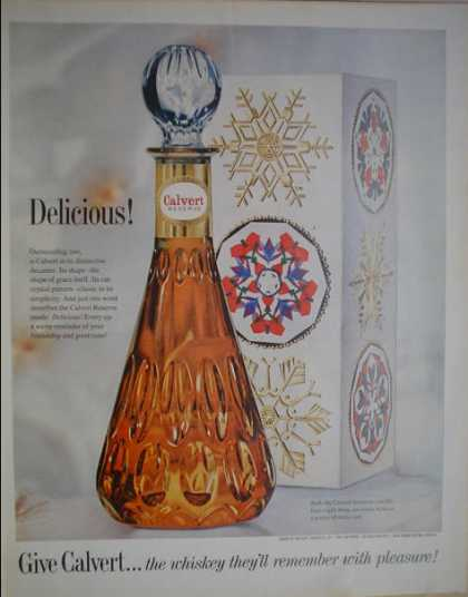 Calvert Reserve Whiskey Delicious Festive Decanter (1962)