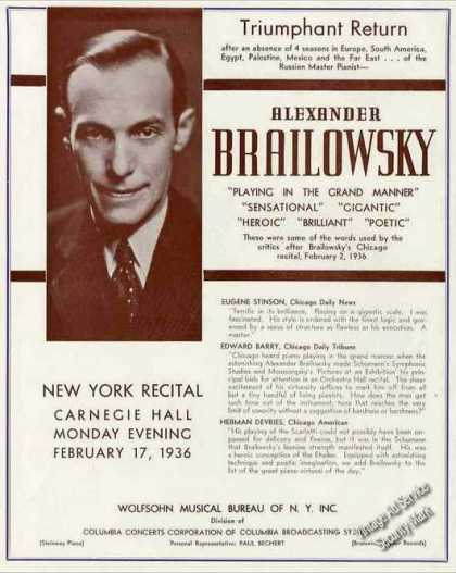 Alexander Brailowsky Photo Russian Pianist (1936)