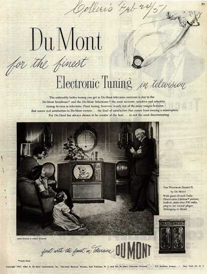 Allen B. DuMont Laboratorie's The DuMont Westbury Series II – DuMont for the finest Electronic Tuning in television (1951)