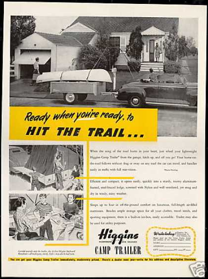 Higgins Camp Trailer Runabout Boat Photo (1947)