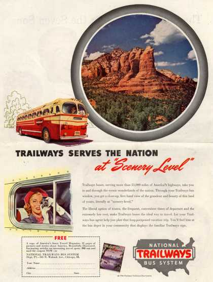 "National Trailways Bus System – Trailways Serves The Nation at ""Scenery Level"" (1946)"