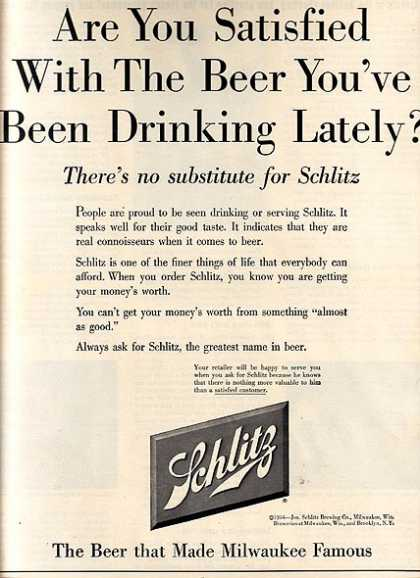 """Are You Satisfied With The Beer You've Been Drinking Lately?' (1954)"