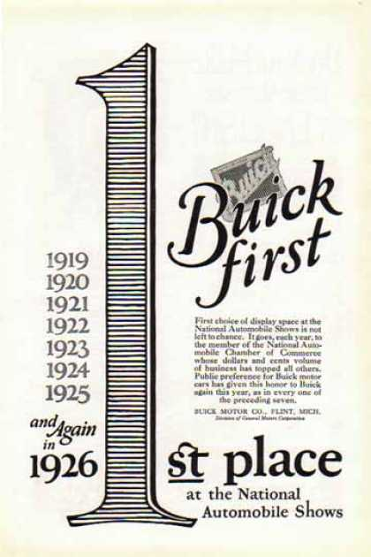 Buick First Car – First place at the National Automobile Shows (1925)