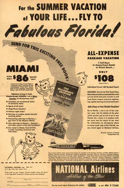 National Airline's Florida – For the SUMMER VACATION of YOUR LIFE... FLY TO FABULOUS FLORIDA (1952)