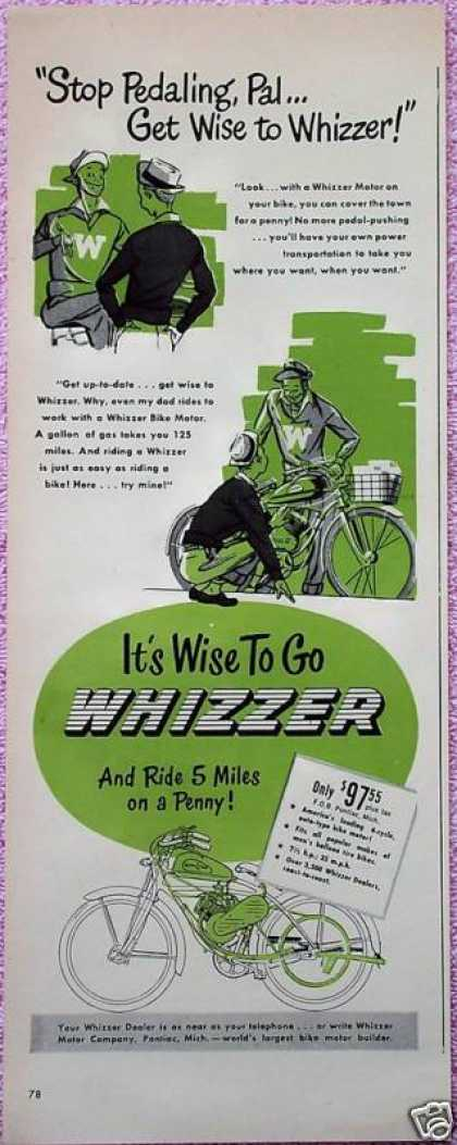 Whizzer Bike Motor Bicycle Stop Pedaling Pal Comic (1948)
