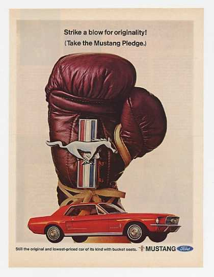 Red Ford Mustang Pledge Boxing Glove (1967)