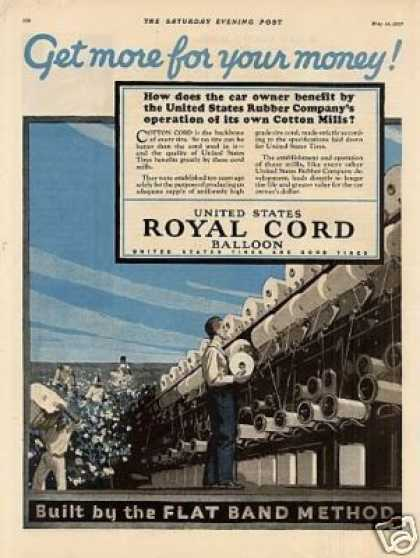 United States Royal Cord Tires Color Ad 2 Page (1927)