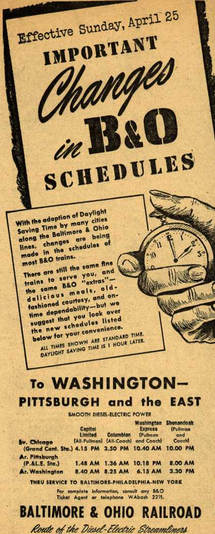 Baltimore & Ohio Railroad's changes in B&O schedule – IMPORTANT CHANGES in B&O SCHEDULES (1948)