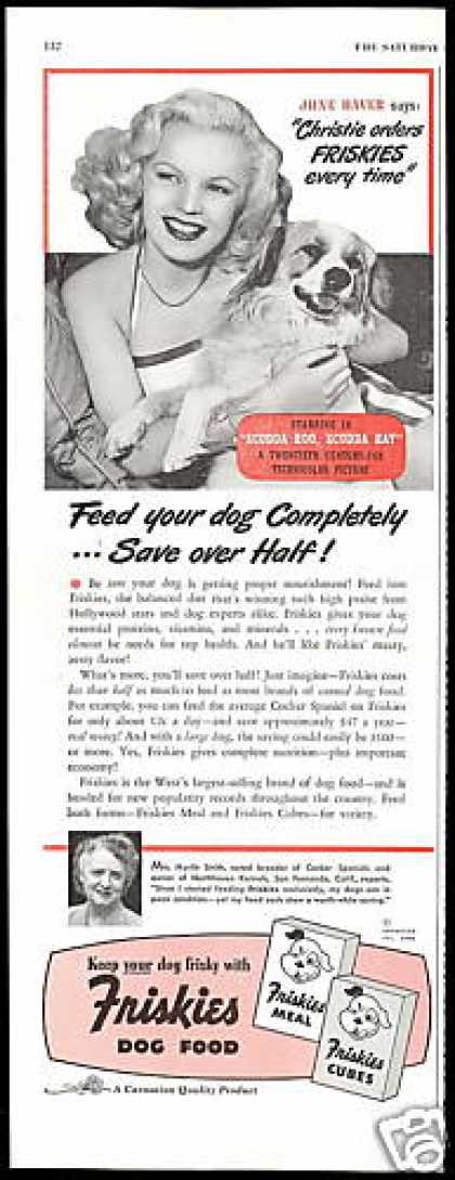 June Haver Photo Friskies Dog Food (1948)