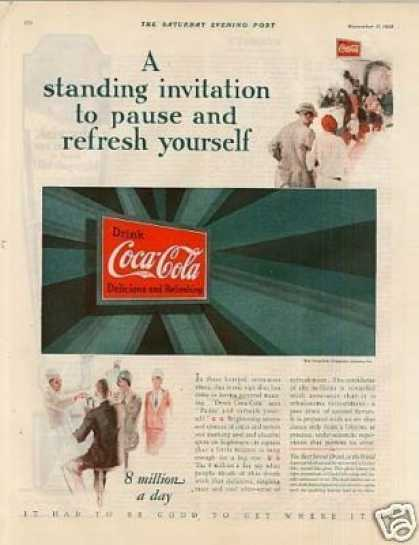 "Coca-cola Color Ad ""A Standing Invitation... (1928)"