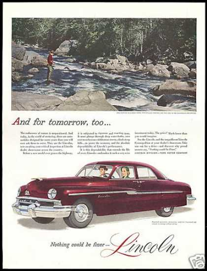Lincoln 4dr Car Fly Fisherman Adirondack Mt's (1951)