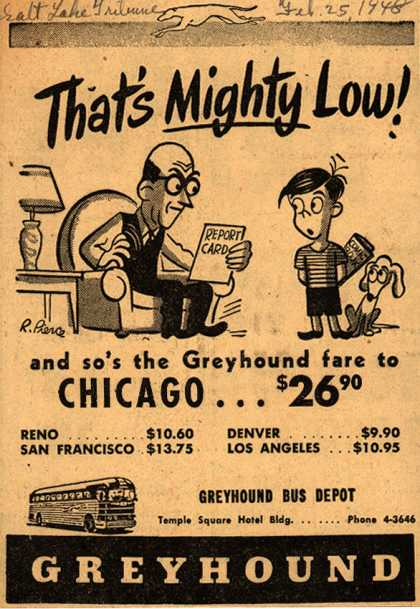 Greyhound's Low fares – That's Mighty Low (1948)