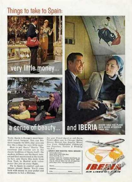 Iberia Air Lines of Spain Nice Travel (1964)