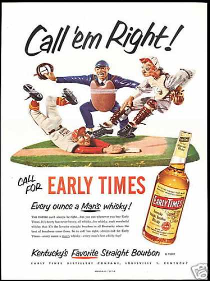 Baseball Umpire Catcher Early Times Whisky (1952)
