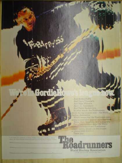 The Roadrunners World Hockey Association. We're in Gordie Howe's league now (1974)