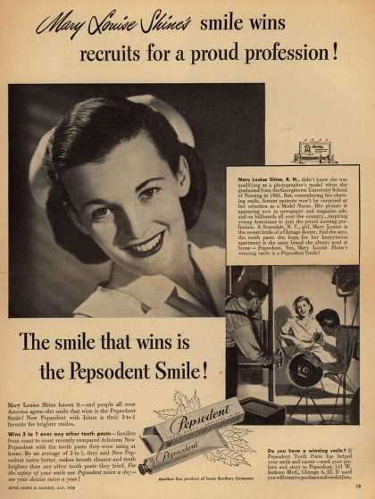 Lever Brothers Company's tooth paste – Mary Louise Shine's smile wins recruits for a proud profession (1948)