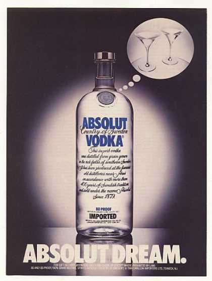Absolut Dream Vodka Bottle Glasses (1987)