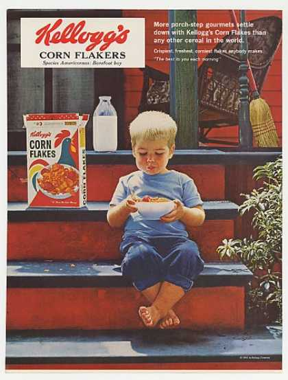 Kellogg's Corn Flakes Boy Eating on Porch Step (1965)