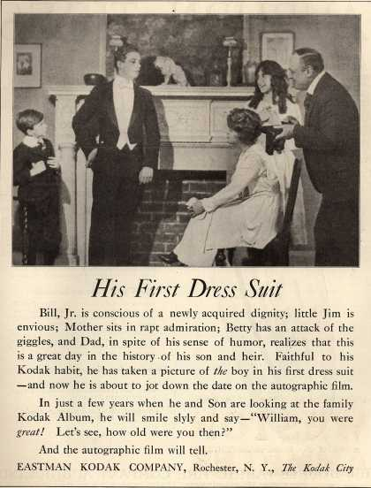 Kodak's Autographic Film – His First Dress Suit (1919)