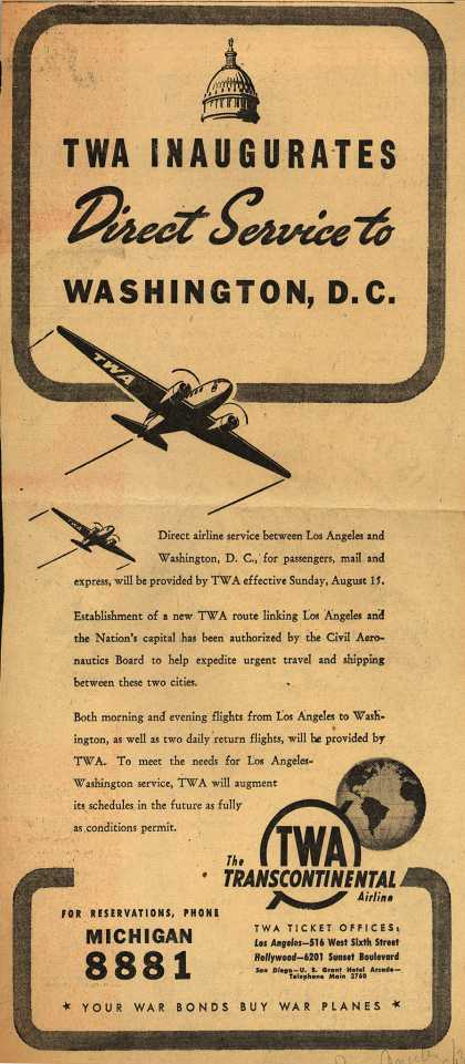 Transcontinental & Western Air's Direct Service to Washington, D.C. – TWA Inaugurates Direct Service to Washington, D.C. (1943)