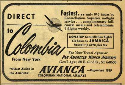 Avianca Colombian National Airway's Avianca – Direct to Colombia (1952)