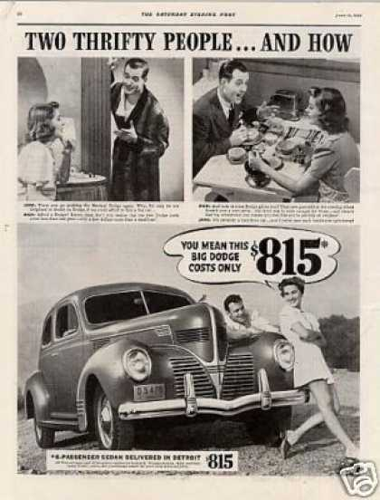 Dodge Six-passenger Sedan Ad 2 Page (1939)