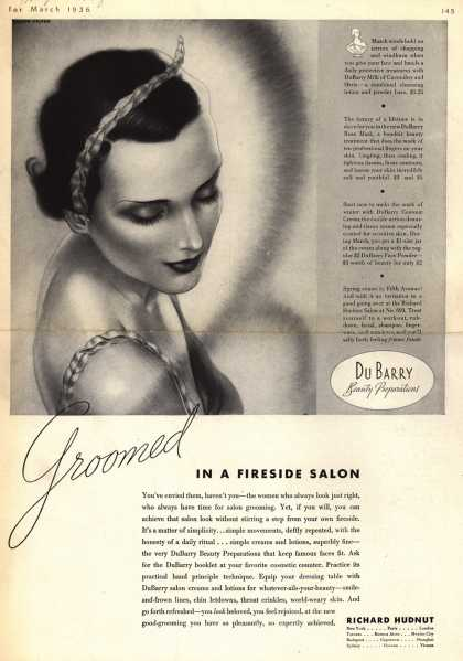 Richard Hudnut's Du Barry Beauty Preparations – Groomed In A Fireside Salon (1936)