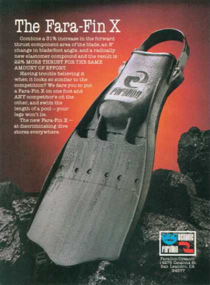 Farallon Fara Fin X Scuba Diver Diving (1980)