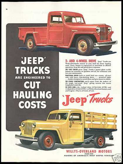 Jeep Truck Cut Hauling Costs Vintage (1948)