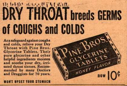 Pine Brother's Glycerine Tablets – Dry Throat breeds Germs of Coughs and Colds (1939)