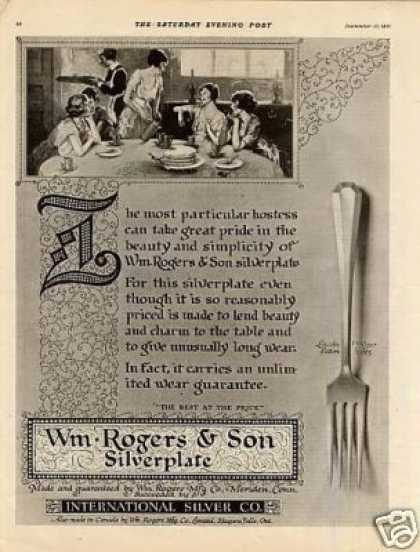 Wm. Rogers & Son Silverplate Ad Lincoln Pattern (1921)