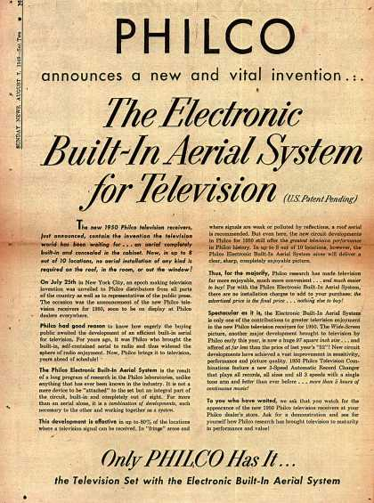 Philco's Television – PHILCO announces a new and vital invention... The Electronic Built-In Aerial System for Television (1949)