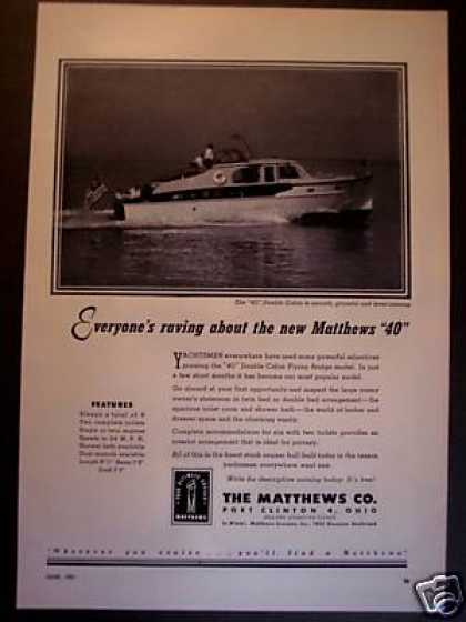 Matthews 40 Dbl Cabin Cruiser Boat Yacht Photo (1951)