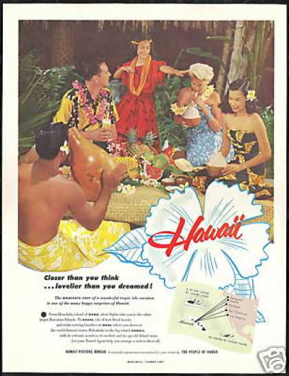 Hawaii Travel Hula Tropical Fruit Vintage Photo (1953)